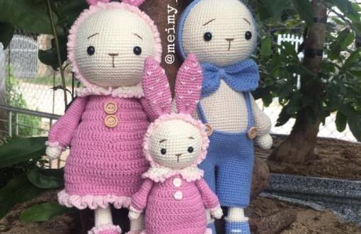 Gia đình thỏ Miti & Mimi tăng size – Thú bông len Meimy Handmade