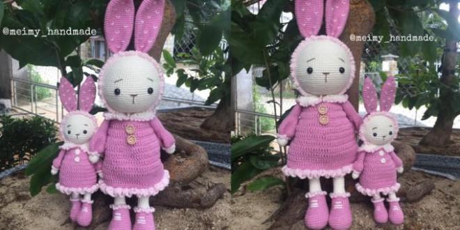 Thỏ Mimi tăng size 40cm – Thú bông len Meimy Handmade
